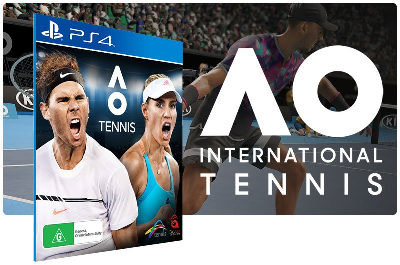 Banner do game AO International Tennis em mídia digital para PS4