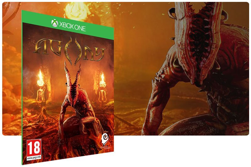 Banner do game Agony em mídia digital para Xbox One