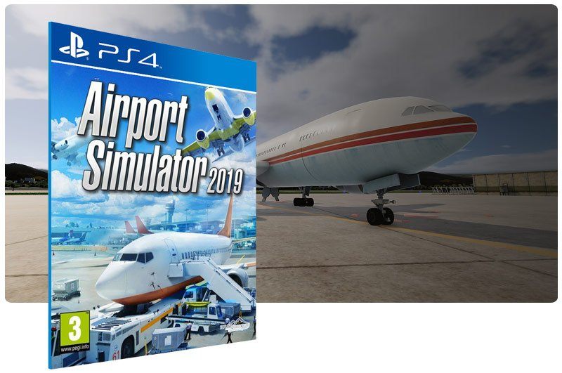 Banner do game Airport Simulator 2019 em mídia digital para PS4