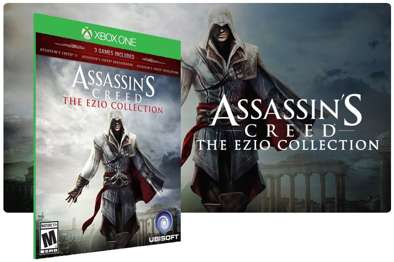 Banner do game Assassins Creed The Ezio Collection em mídia digital para Xbox One
