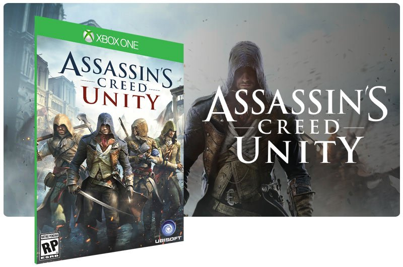 Banner do game Assassins Creed Unity em mídia digital para Xbox One