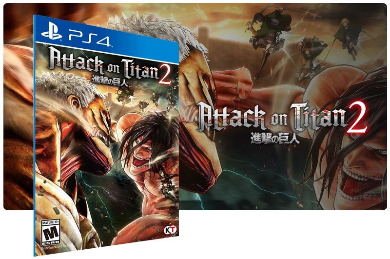 Banner do game Attack on Titan 2 em mídia digital para PS4