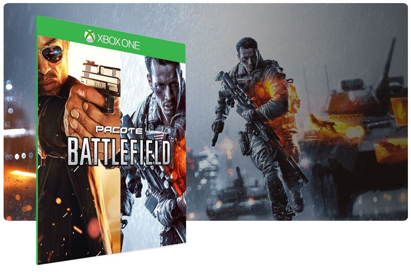 Banner do game Battlefield 4 + Battlefield Hardline em mídia digital para Xbox One