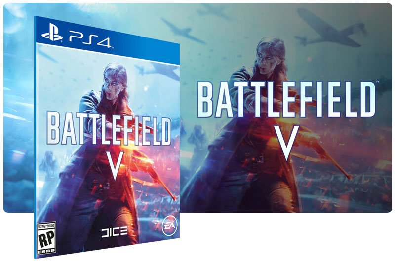 Banner do game Battlefield V Standard Edition em mídia digital para PS4