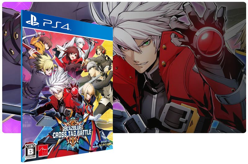 Banner do game BlazBlue Cross Tag Battle em mídia digital para PS4