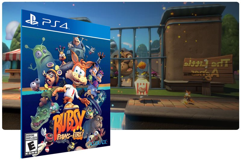 Banner do game Bubsy: Paws on Fire! em mídia digital para PS4