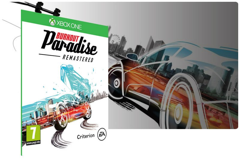 Banner do game Burnout Paradise Remastered em mídia digital para Xbox One