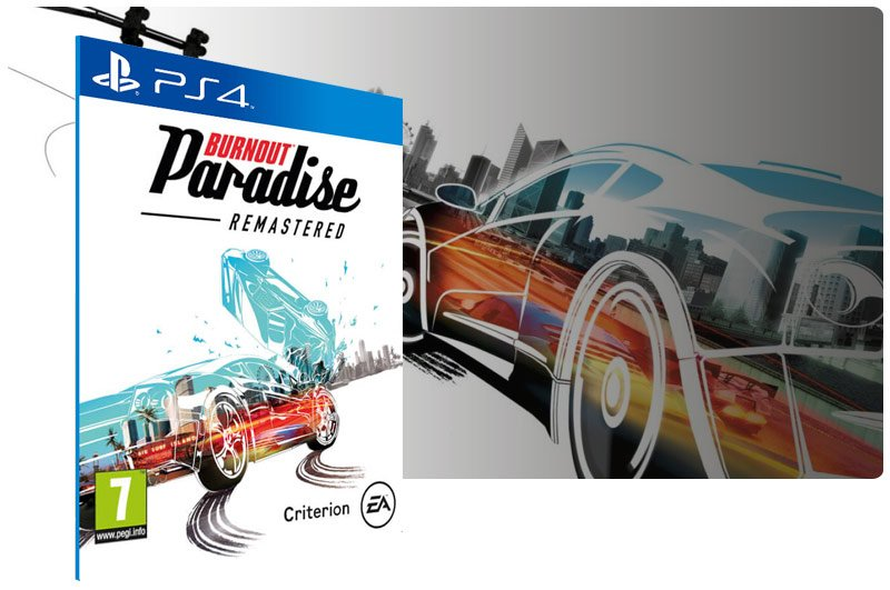 Banner do game Burnout Paradise Remastered em mídia digital para PS4