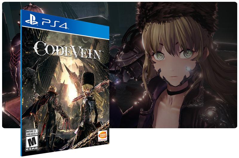 Banner do game CODE VEIN em mídia digital para PS4