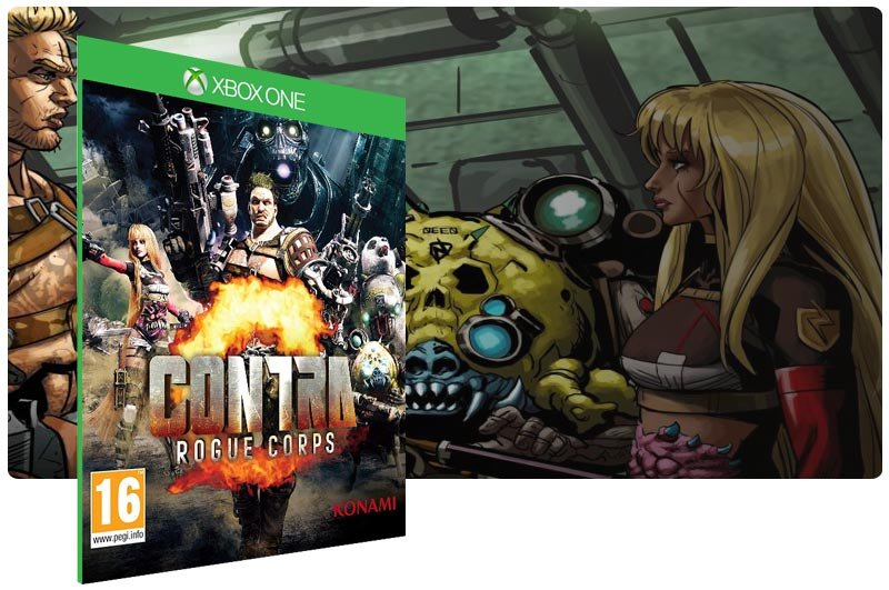 Banner do game CONTRA: ROGUE CORPS em mídia digital para Xbox One