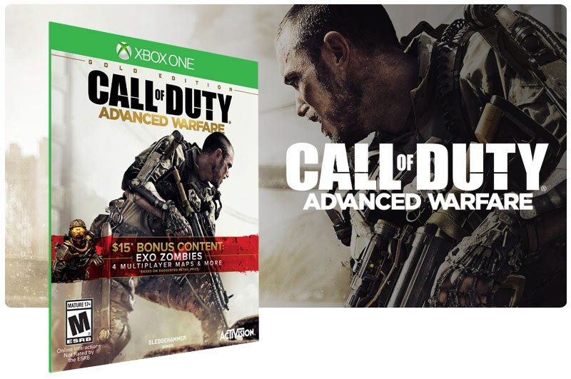 Banner do game Call of Duty: Advanced Warfare Gold Edition em mídia digital para Xbox One