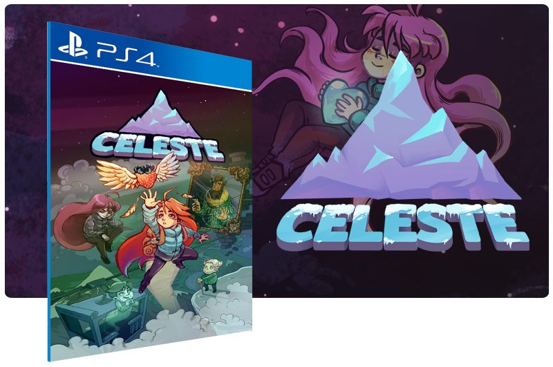 Banner do game Celeste em mídia digital para PS4