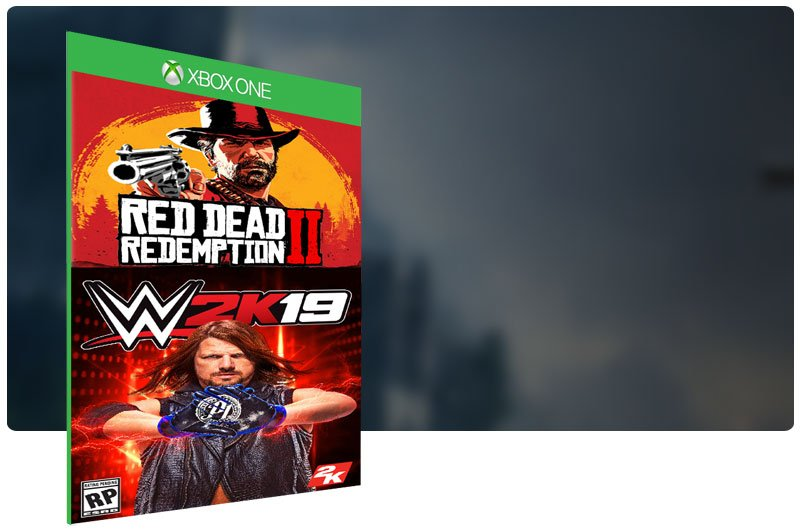 Banner do game WWE 2K19 em mídia digital para Xbox One