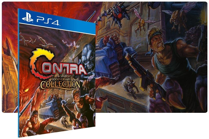 Banner do game Contra Anniversary Collection em mídia digital para PS4