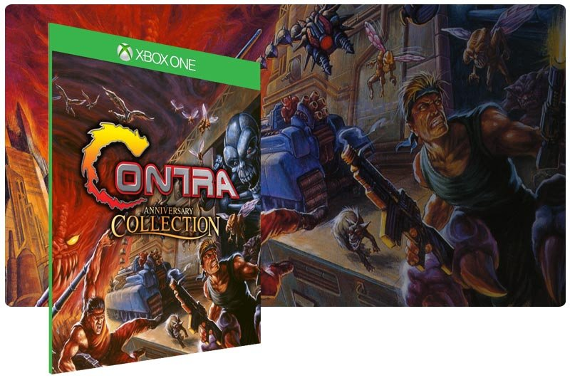 Banner do game Contra Anniversary Collection em mídia digital para Xbox One