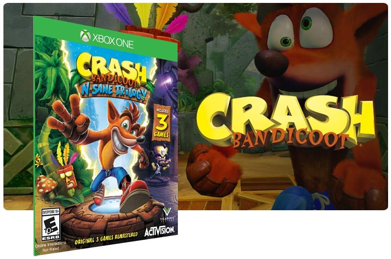 Banner do game Crash Bandicoot N. Sane Trilogy em mídia digital para Xbox One