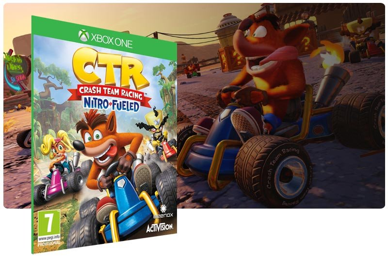 Banner do game Crash Team Racing Nitro-Fueled em mídia digital para Xbox One