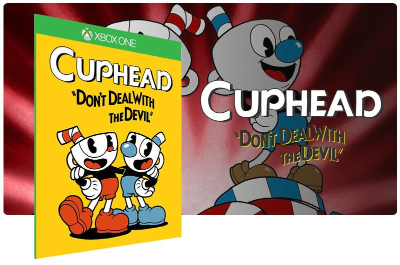 Banner do game Cuphead em mídia digital para Xbox One