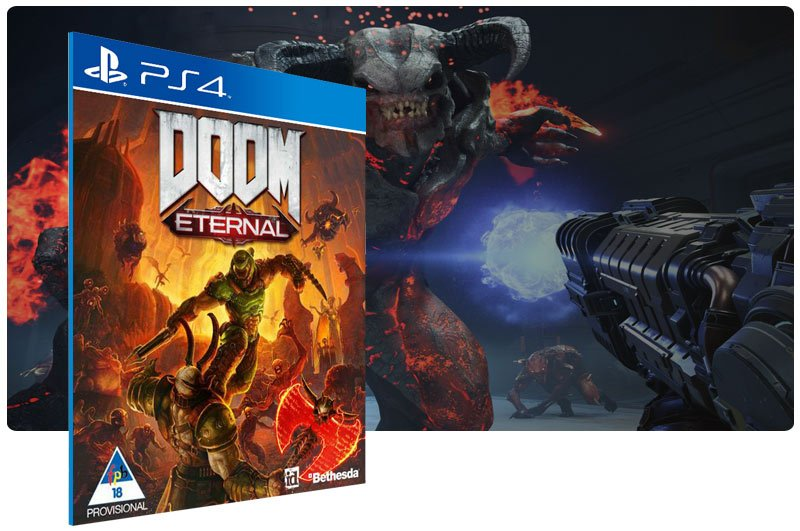 Banner do game DOOM Eternal em mídia digital para PS4