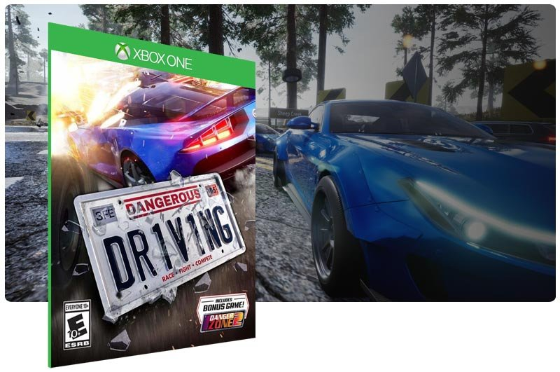 Banner do game Dangerous Driving em mídia digital para Xbox One
