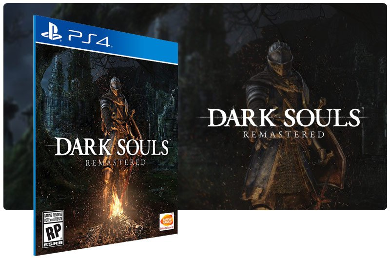 Banner do game Dark Souls Remastered em mídia digital para PS4