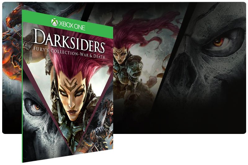 Banner do game Darksiders: Furys Collection War and Death em mídia digital para Xbox One