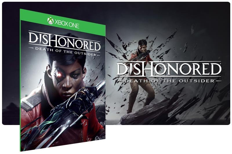 Banner do game Dishonored: Death of the Outsider em mídia digital para Xbox One