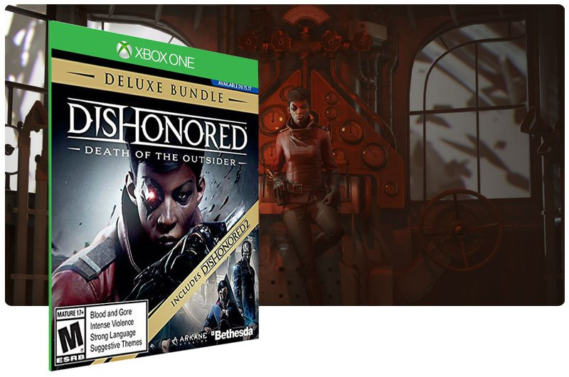 Banner do game Dishonored: Death of the Outsider Deluxe Bundle em mídia digital para Xbox One