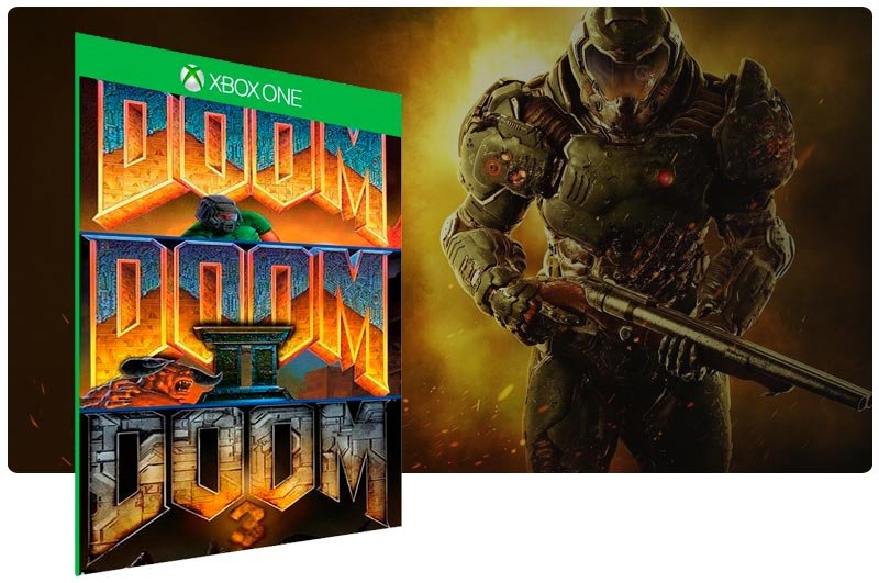 Banner do game Doom (1993) ,Doom 2 ,Doom 3 Collection em mídia digital para Xbox One