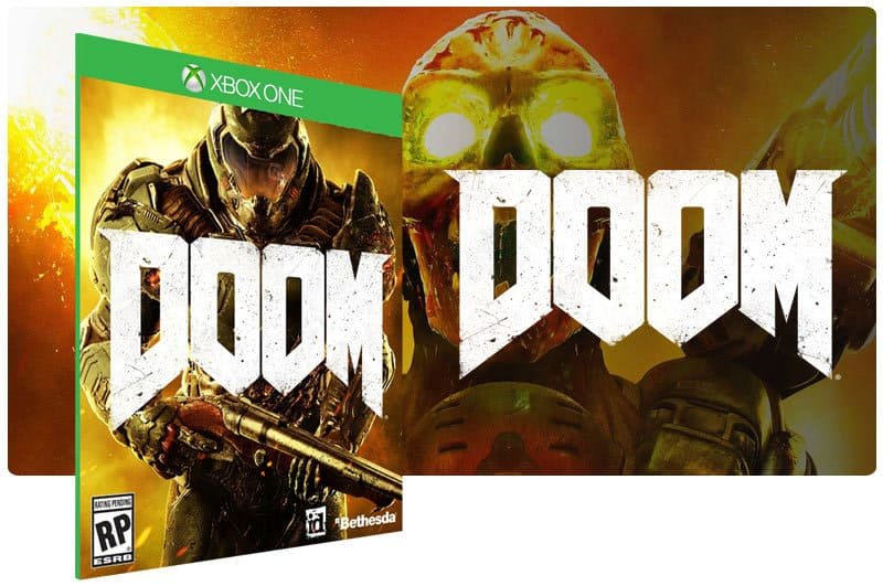Banner do game Doom em mídia digital para Xbox One