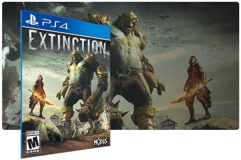 Banner do game Extinction em mídia digital para PS4