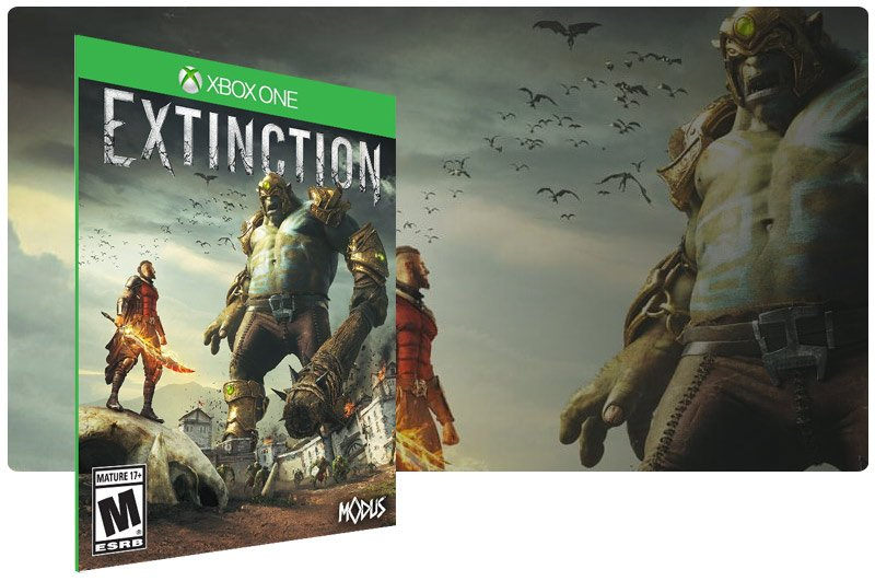 Banner do game Extinction em mídia digital para Xbox One