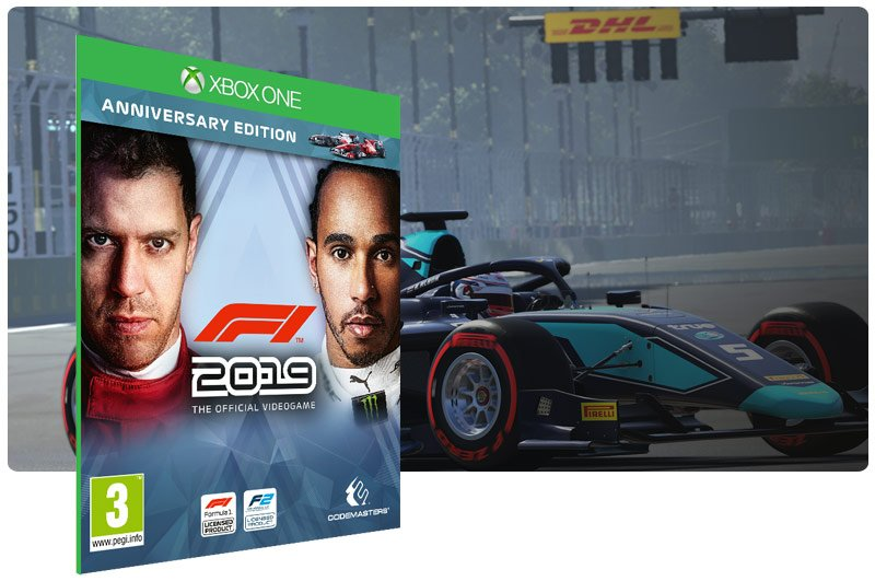 Banner do game F1 2019 Anniversary Edition em mídia digital para Xbox One
