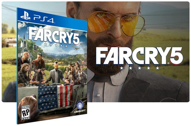 Banner do game Far Cry 5 em mídia digital para PS4