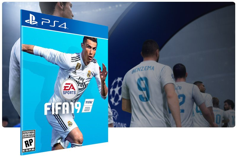 Banner do game FIFA 19 Standard Edition em mídia digital para PS4