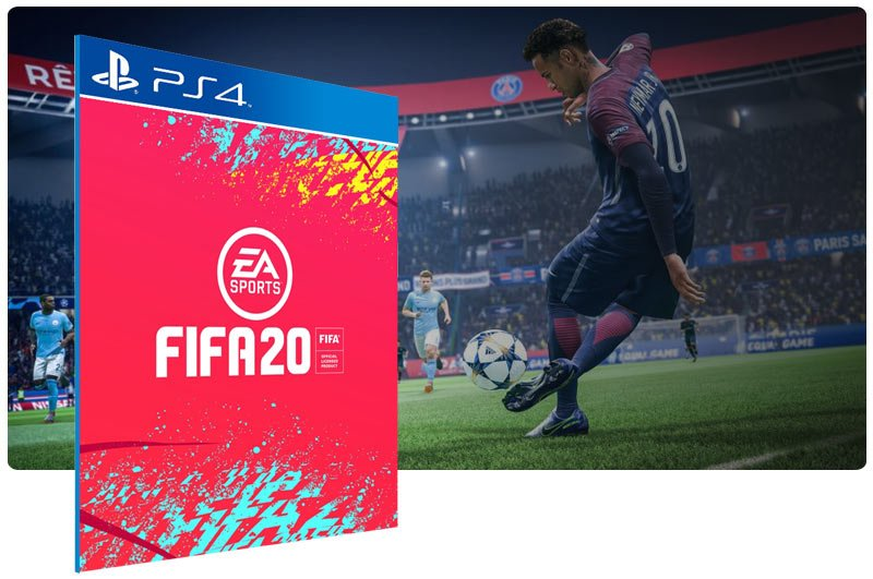 Banner do game FIFA 20 Standard Edition em mídia digital para PS4