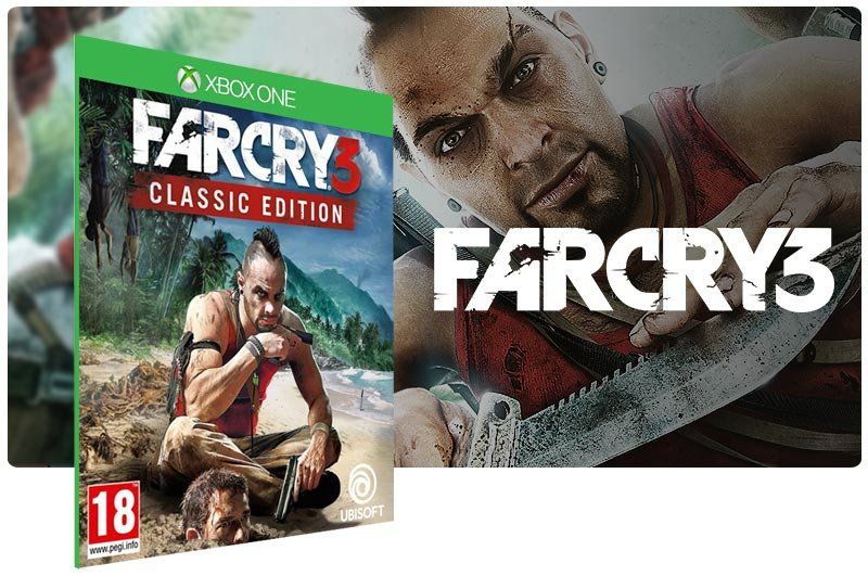 Banner do game Far Cry 3 Classic Edition em mídia digital para Xbox One