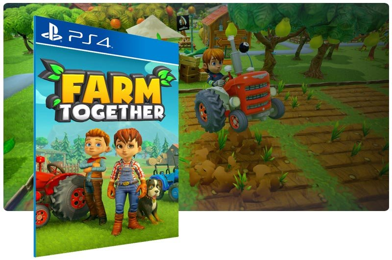 Banner do game Farm Together em mídia digital para PS4