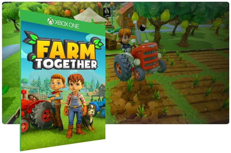 Banner do game Farm Together em mídia digital para Xbox One