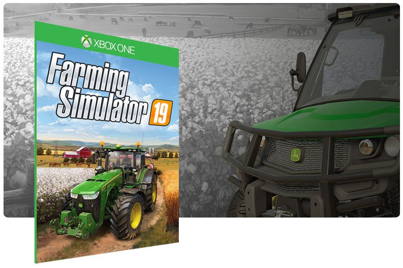 Banner do game Farming Simulator 19 em mídia digital para Xbox One