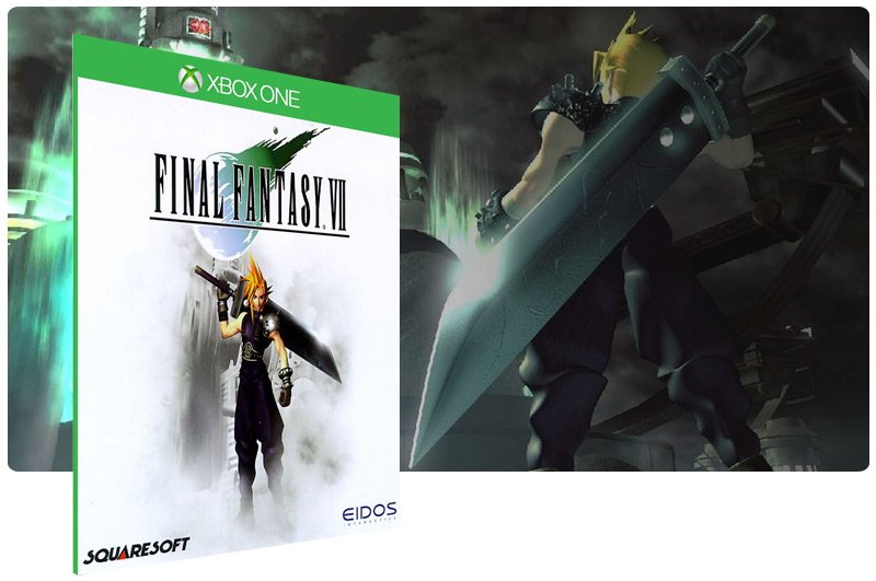 Banner do game Final Fantasy 7 em mídia digital para Xbox One