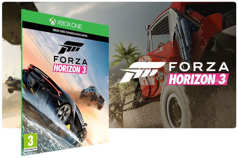 Banner do game Forza Horizon 3 em mídia digital para Xbox One