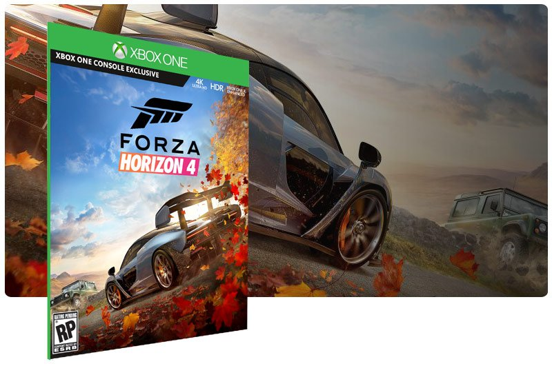Banner do game Forza Horizon 4 em mídia digital para Xbox One