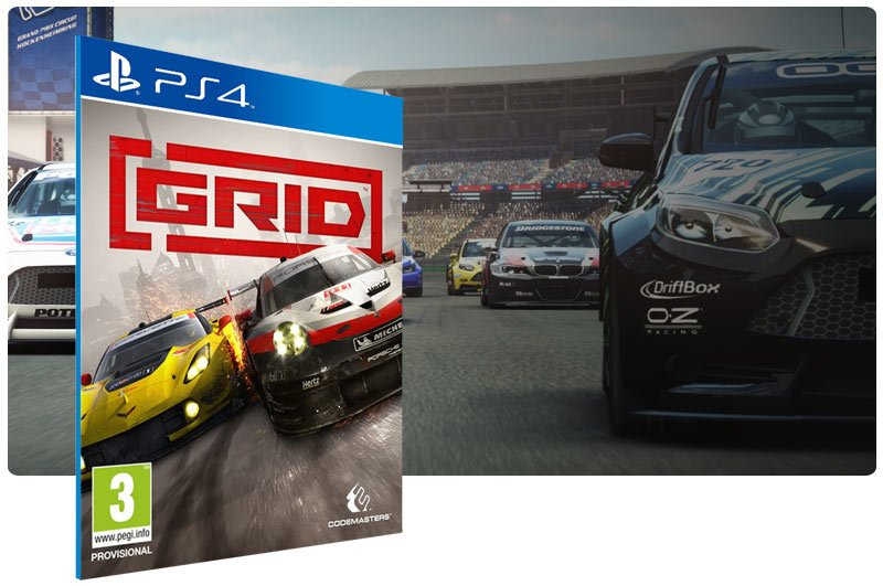 Banner do game GRID Launch Edition em mídia digital para PS4