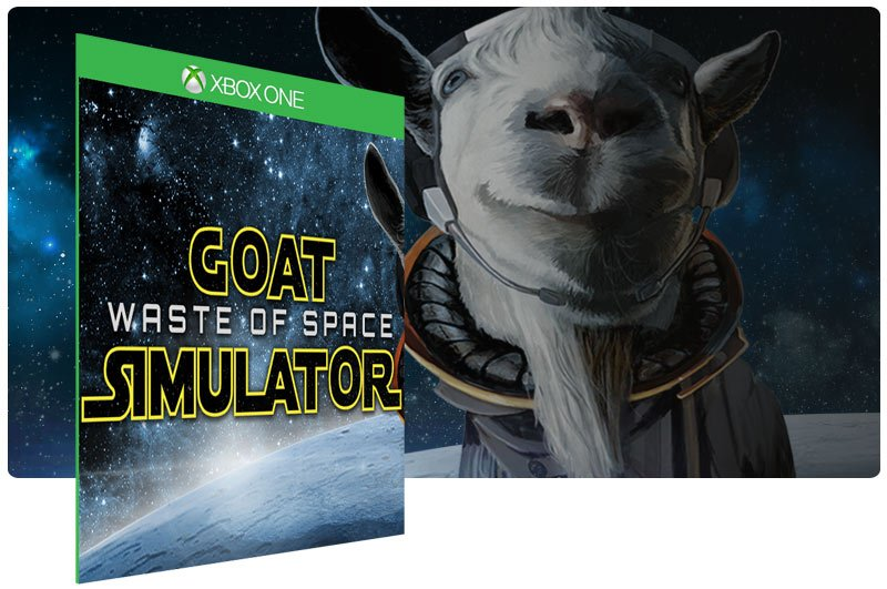 Banner do game Goat Simulator Waste of Space Bundle em mídia digital para Xbox One