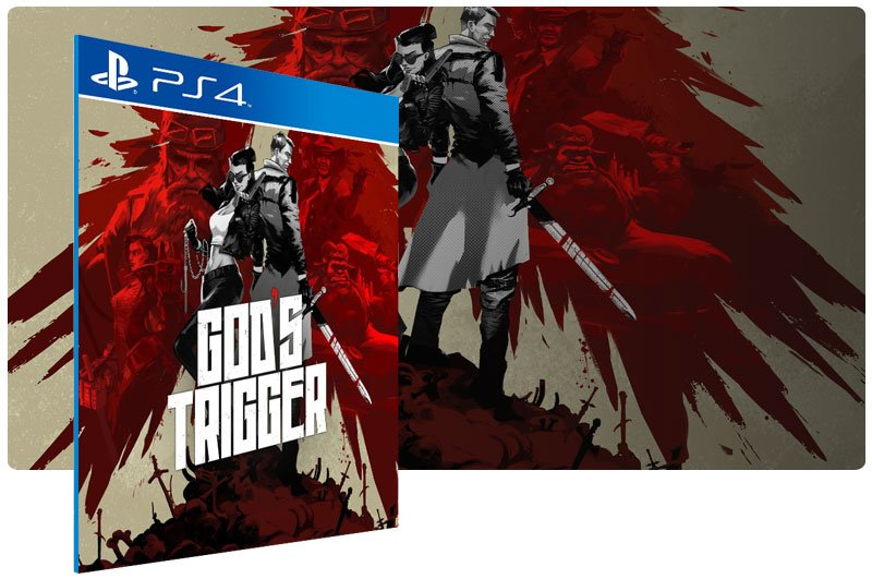 Banner do game Gods Trigger em mídia digital para PS4