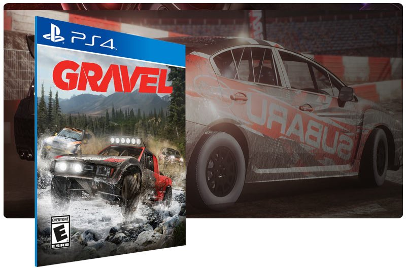 Banner do game Gravel em mídia digital para PS4
