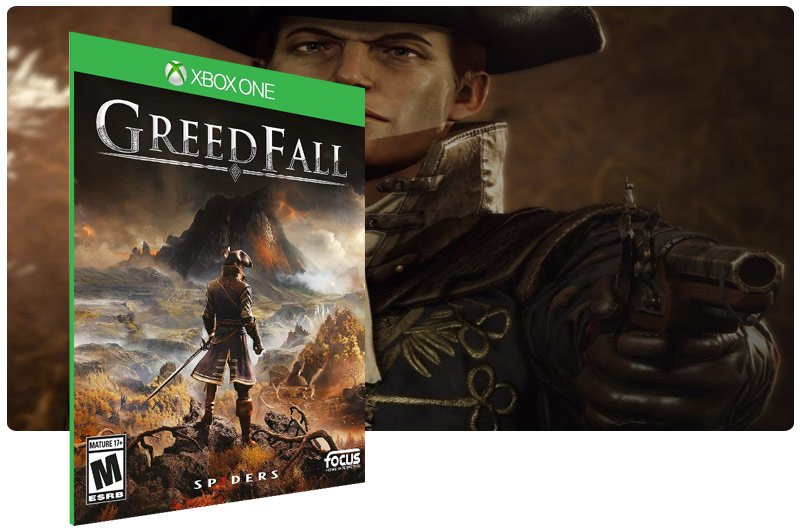 Banner do game GreedFall em mídia digital para Xbox One