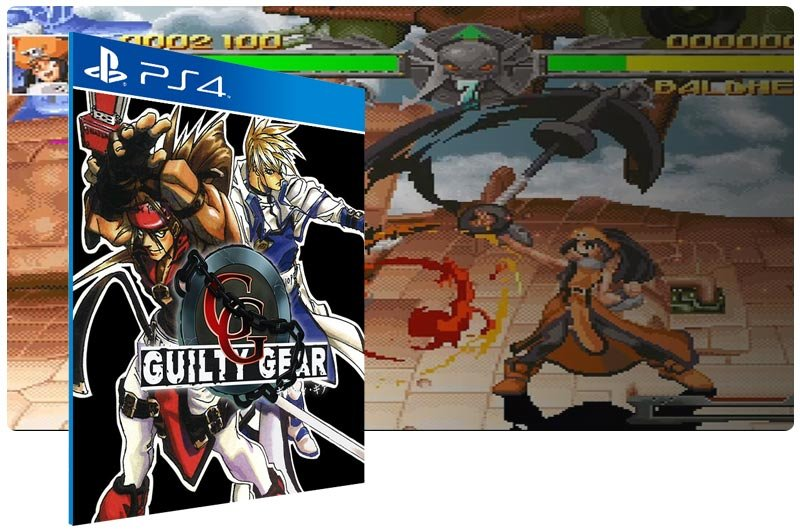 Banner do game Guilty Gear  em mídia digital para PS4