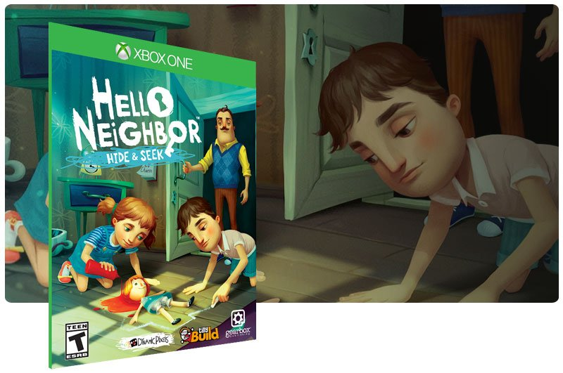 Banner do game Hello Neighbor Hide and Seek em mídia digital para Xbox One